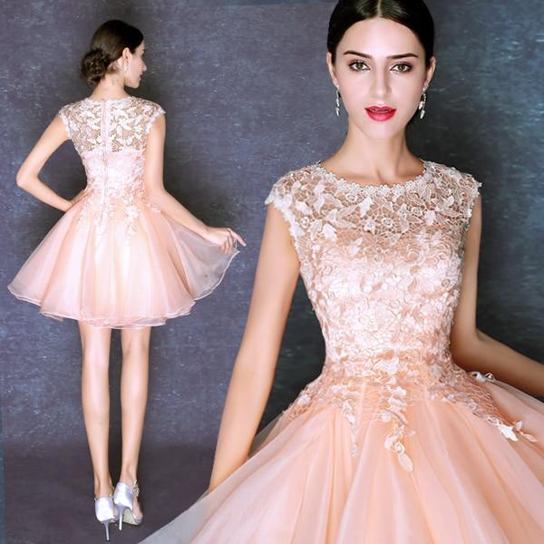 4bf4ffdfa Vestido De Festa Dubai árabe elegante rosa corto De baile para Juniors gasa  Vestido con fiesta