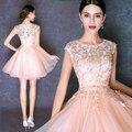 Vestido De Festa Dubai árabe elegante rosa curto vestidos De baile para Juniors Vestido Homecoming com renda apliques Vestido De Festa
