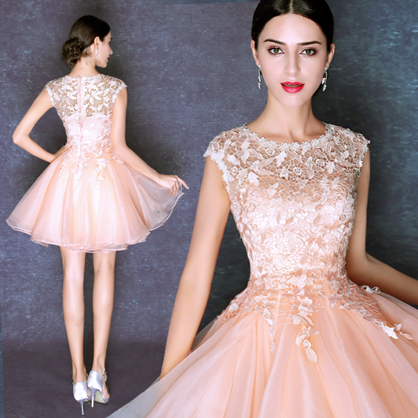 Vestido corto gasa rosa