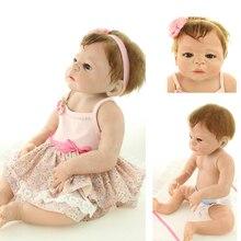 Nuevo 58 cm Victoria gala silicona renacer Baby dolls chica cuerpo arraigado pelo marrón hechos a mano del bebé Bonecas Reborn regalo de los cabritos bebe