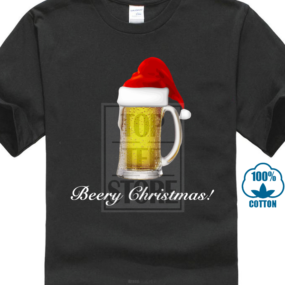 US $6 87 14% OFF|Mens Funny Beery Christmas Beer T Shirt 2018 Creative Hot  Sales Casual Cotton High Quality Summer T shirt Fashion Printing-in
