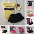 Children Set Baby Clothing Romper Headband Skirt Girl Sports Suits Kids Jumpsuit Newborn Outfits Bodysuit 3pcs Kids Sets