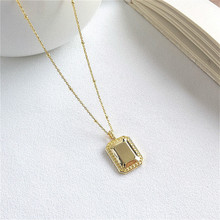 Fengxiaoling High Quality 925 Sterling Silver Pendant Necklaces For Women Simple Geometry Rectangle Golden Necklace Fine Jewelry