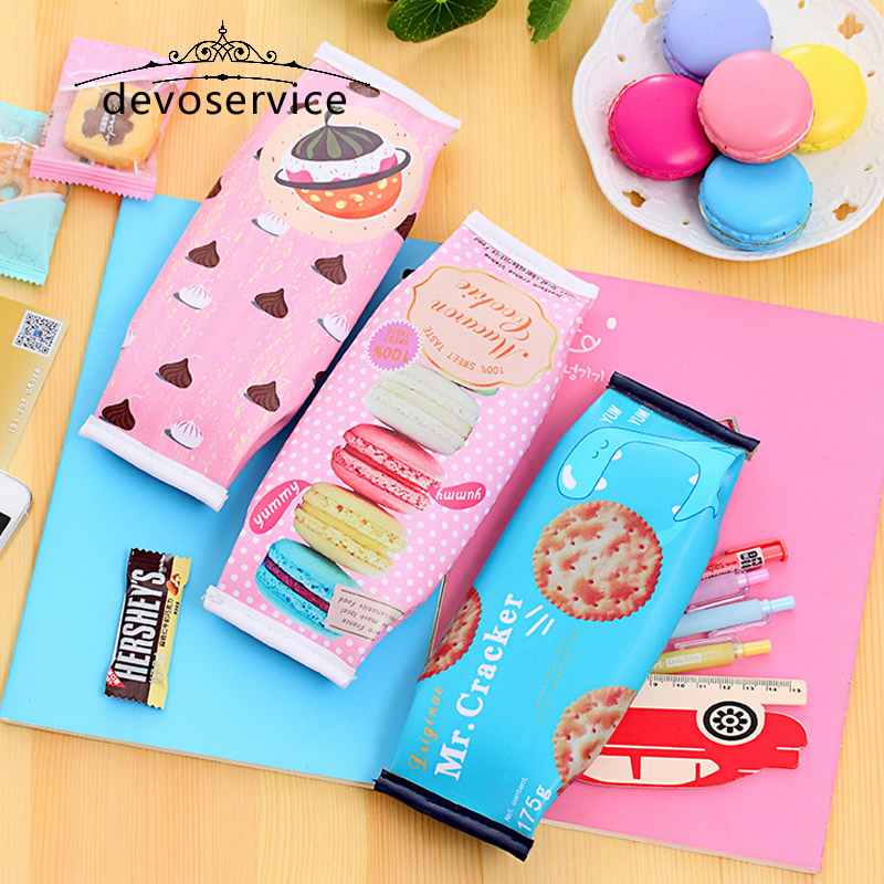 Creative Macaron Pencil Cases Pencil Bag Leather Kawaii Stationery Students Pouch Office School Supplies Escolar Waterproof Bag