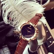 Мода Кварцевые Часы Дамы Женщины Rhinestone Кожаный Вскользь Платье женские Часы Розового Золота reloje mujer montre femme OP001