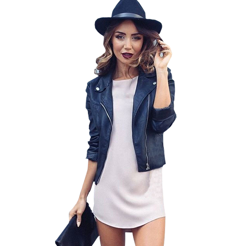 2019 Mujer Fashion Women Fuax   Leather   Jacket And The Wind Zipper Bright New Ladies   Leather   Coat Jacket Women Dropship