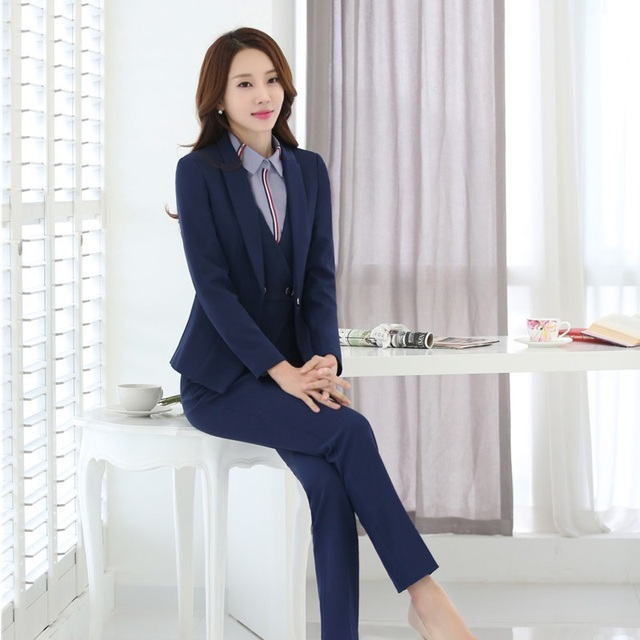 Ladies Formal Uniform Styles Pants Suits With 4 Piece Jackets + Vest Coat +  Pants + Blouse Business Work Wear Blazers Plus Size ca4b0f7dd3ad