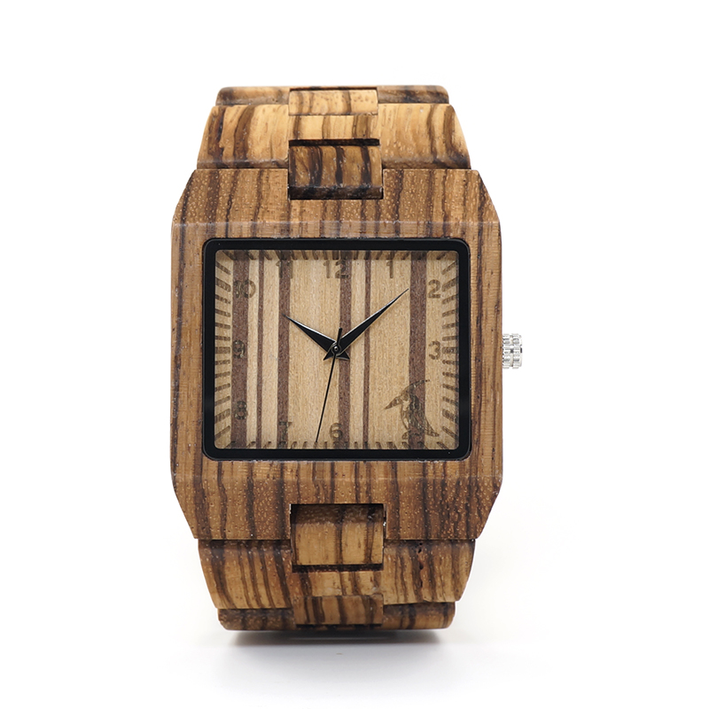 BOBO BIRD Full Zebra Wood Watch Rectangle Quartz Wristwatch for Male Come with Paper Box relogio masculino B-L24 bobo bird mens wood wristwatch song of ice and fire game of thrones dial wood quartz watch in gift box relogio masculino