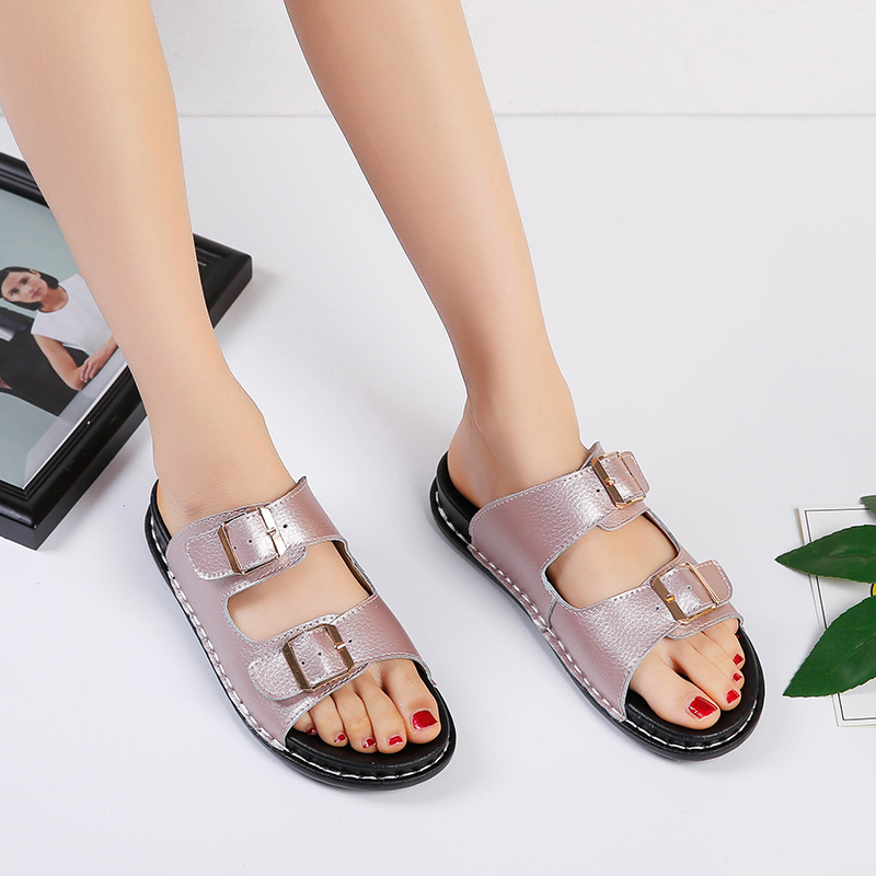 Woman Slippers Platform Shoes Fashion Double Buckle Slides Summer Beach Slip On Slippers Flip Flop Shoes Women Casual Flat Shoes in Slippers from Shoes