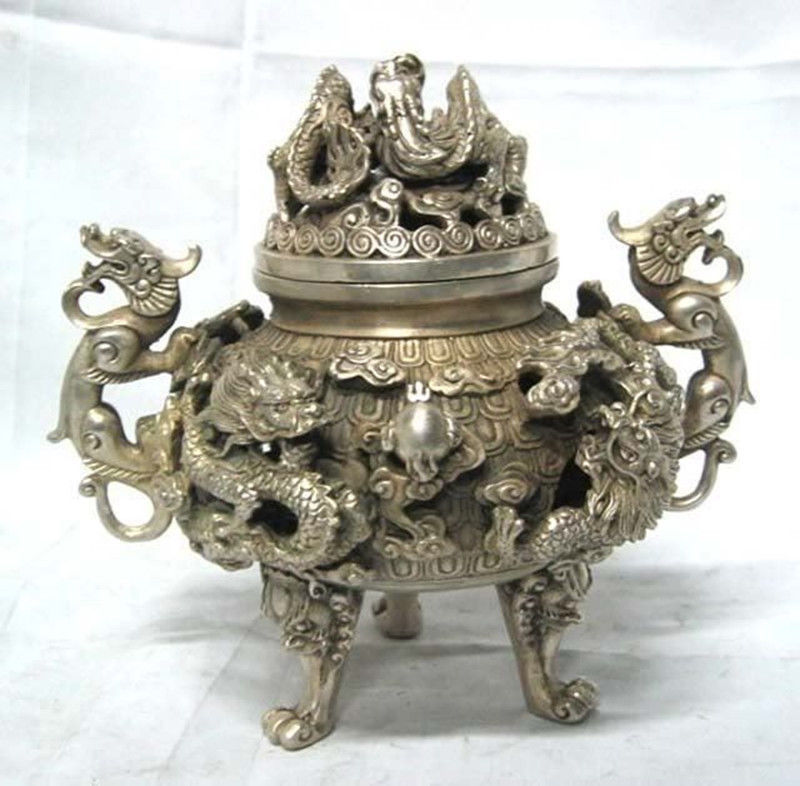 Details about preeminent Tibet silvered nine dragon censer