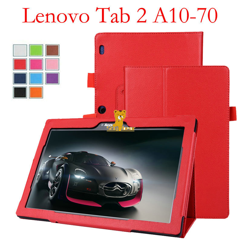 case for Tab2 A10 70 tablet 10.1'' smart Flip leather protective case cover funda for lenovo tab 2 a10-70 +stylus pen+film
