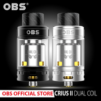 Original OBS Crius 2 Dual Coil RTA Atomizer with 4ml rebuildable tank and resin drip tip vape E Cigarettes vaporizer
