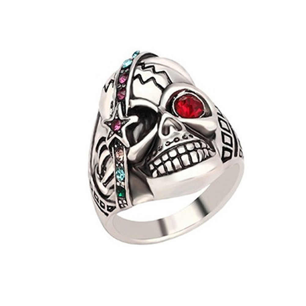 Pirates of the Caribbean Punk Rock Setted Zirconia Stainless Steel Skull Ring Men Vintage Jewelry Exaggerated Movie Style Rings