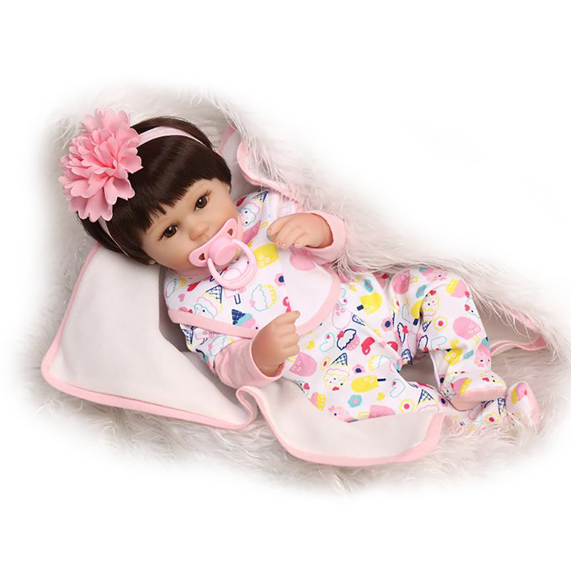 Reborn Baby Girls Doll Princess Birthday Christmas gift 18inch 42cm Soft Silicone Vinyl Cloth Body Adorable Cute likelife Toys