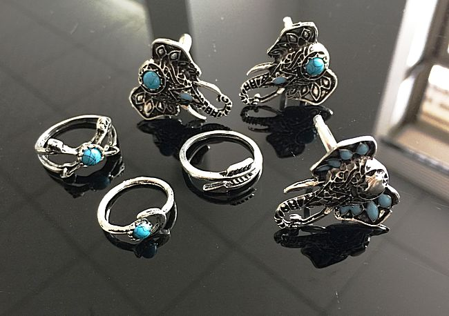 Bohemian Style 6pcs/Pck Vintage Anti Silver Color Rings Elephant snake heart Rings Set for women 1