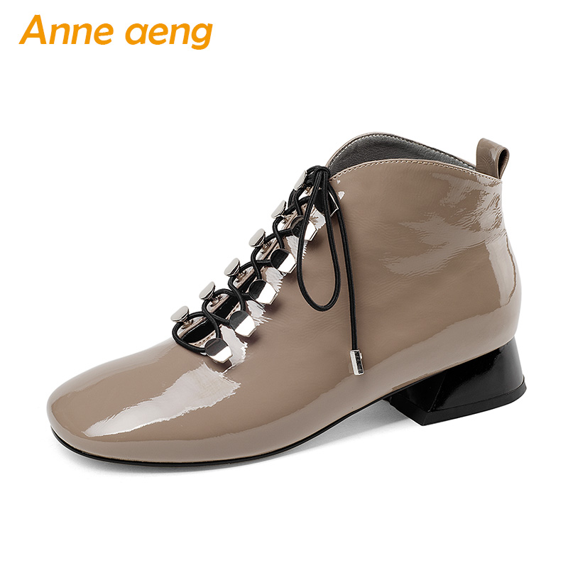 2018 New Autumn/Winter Genuine Leather Women Ankle Boots Middle Heels Square Toe Lace-Up Snow Boots Sexy Ladies Women Shoes 2017 new fashion lace up women boots genuine leather square heel black autumn winter sexy brand ladies ankle boots women shoes