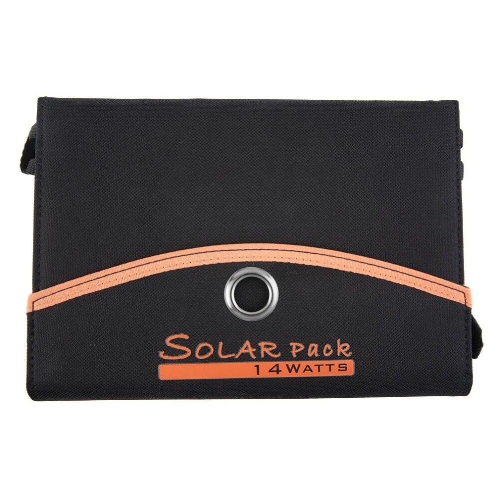 4-Foldable Double USB Panneau Solaire Batterie Chargeur pour Ordinateur Portable PC Téléphone 14 w