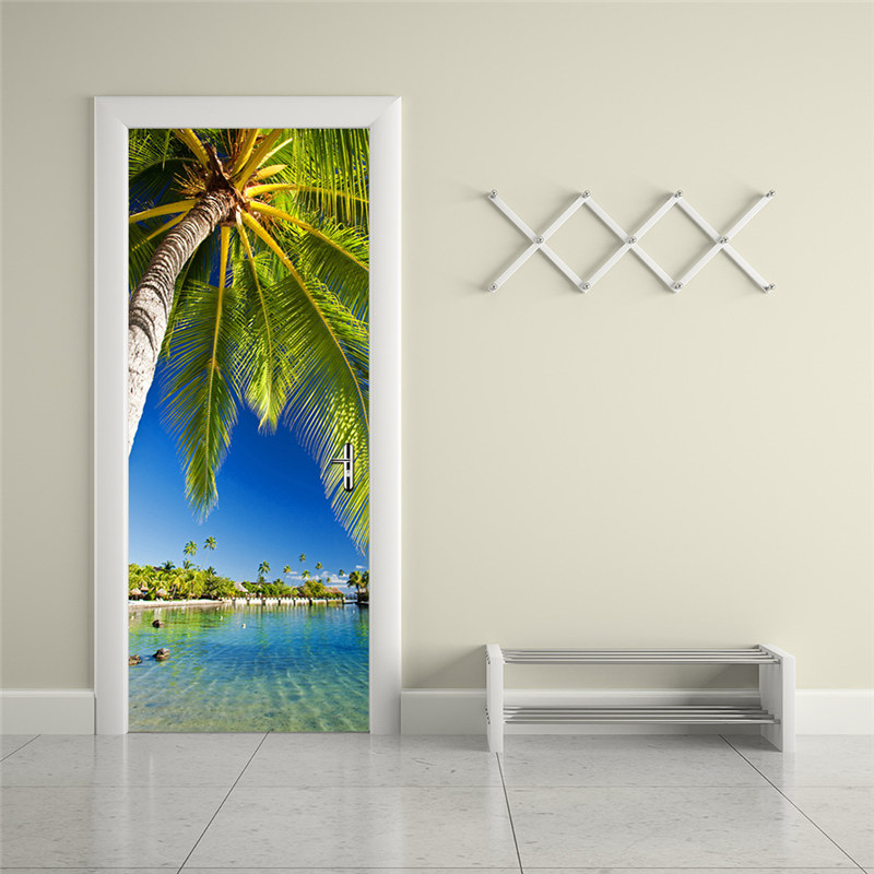 2 sheets/pcs Lake Palm Tree Door Sticker Tropical Landscape DIY Mural Paper Creative Wall Poster for Balcony Bedroom Store Decor