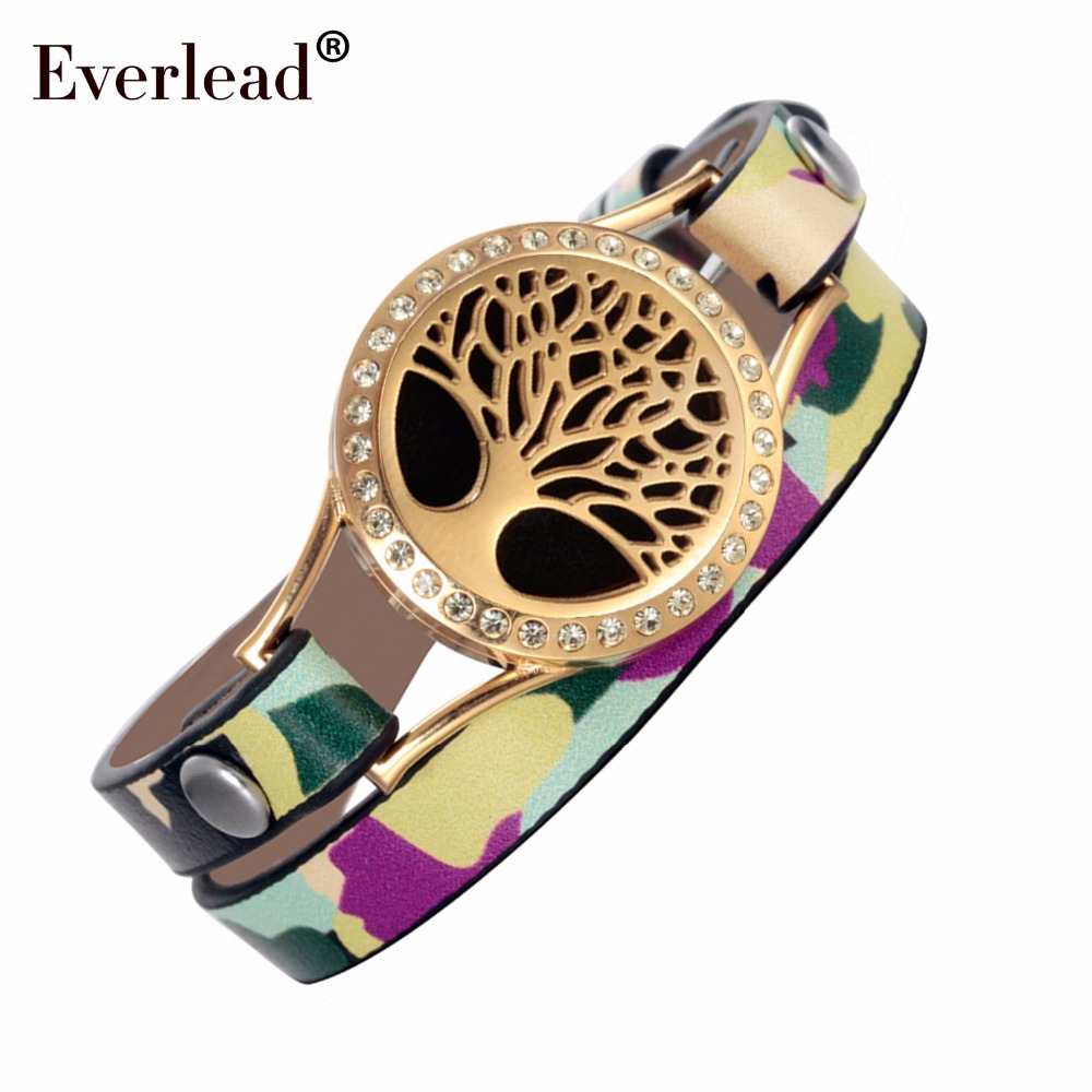 Everlead Tree of life Leather wrap Bracelets Camo gold color plated Essential Oil Diffuser Healthy living Lockets Bracelet