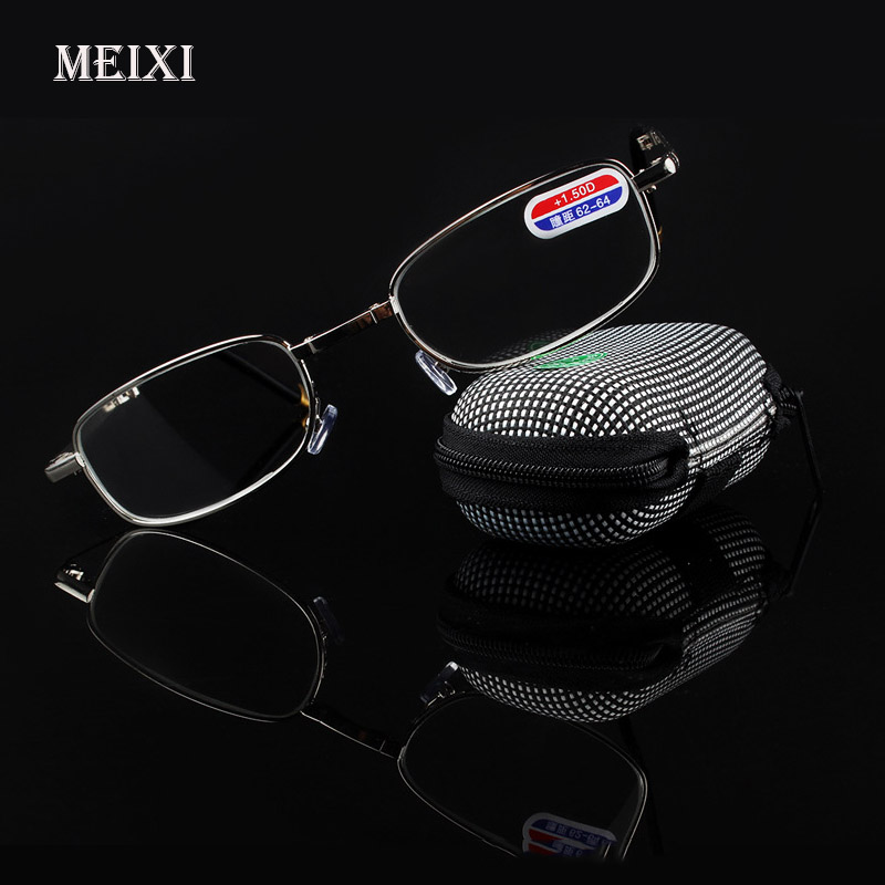 Foldable Clear Men Women Reading Glasses Glidelås Veske med Belt Clip Presbyopic Unisex Eyewear + 1.0 + 1.5 + 2.0 + 2.5 + 3.0 + 3.5 +4.0