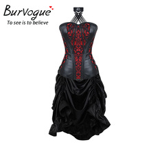 Burvogue Women Steampunk Corset Dress Gothic Style Corselet Waist Trainer Embroidery Bustiers Overbust Corselet Dress