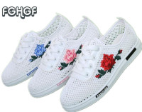 Women White Mesh Embroidery Shoes Woman Summer Shoes Breathable Moccasins Cute Lolita Shoes Tenis Femme Tufli