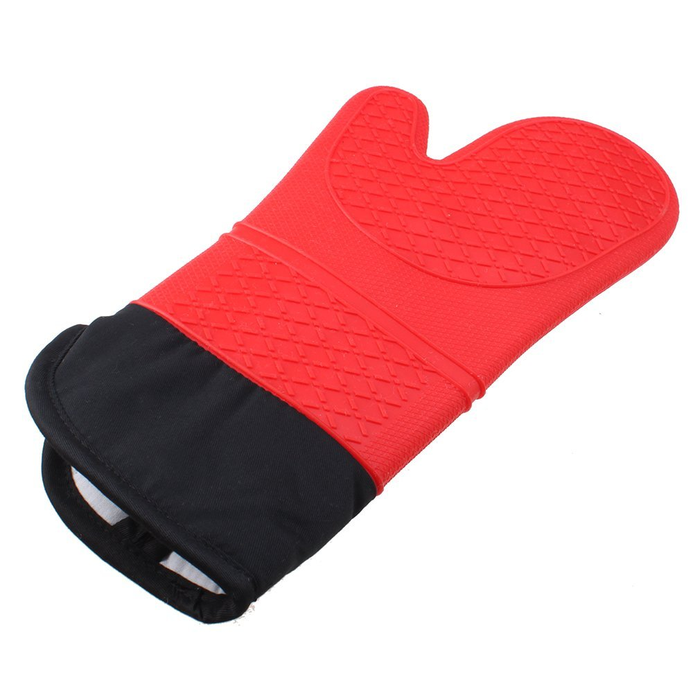 1 pc food grade Heat Resistant Silicone Oven Mitt Kitchen Baking Cooking glove BBQ Grill Glove with Extra Long Canvas Stitching