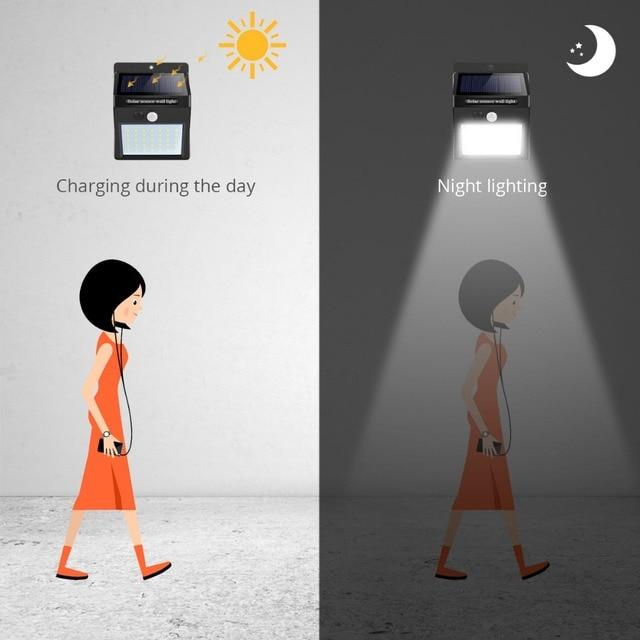 Solar Led-straßenleuchte 16-100LED Super Helle PIR Motion Sensor LED Solar Lampe Energiesparende Pfad Zaun Garten Sicherheit Beleuchtung