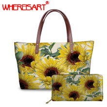 WHEREISART new women handbag Sunflower large shoulder bag high quality handbags bag female shoulder  handbag set