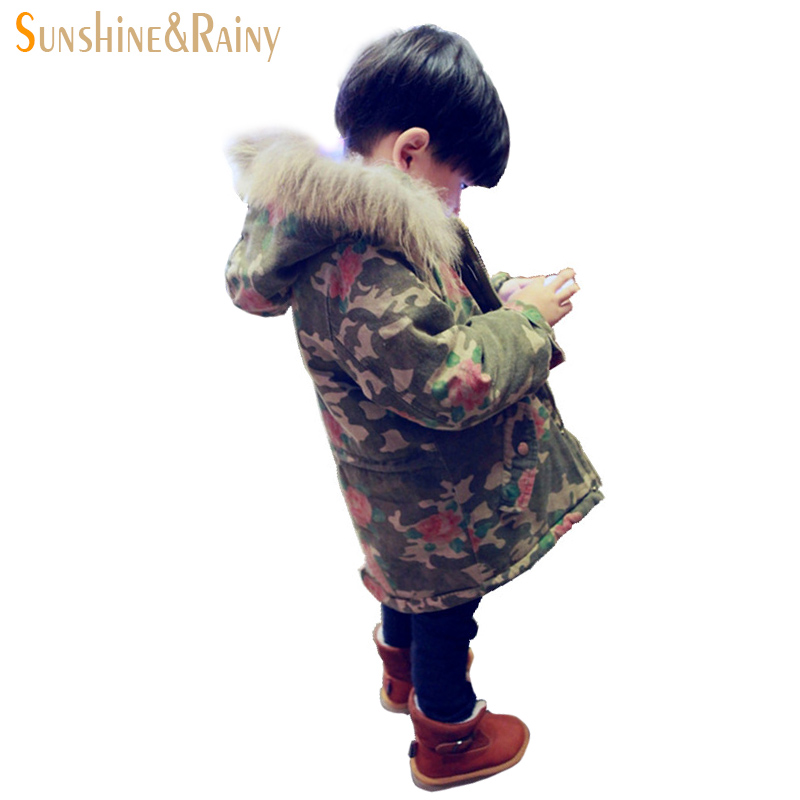 ФОТО Fashion Camouflage Floral Fur Collar Baby Jackets Infant Boy Coats Outerwear Toddler Girl Coats Children'S Winter Clothes 1-4 T