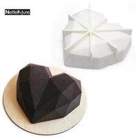 Nueva llegada irregular patrón de diamante blanco en forma de corazón de silicona molde de la torta de mousse de hornear pan & plato cocina diy de la hornada herramientas