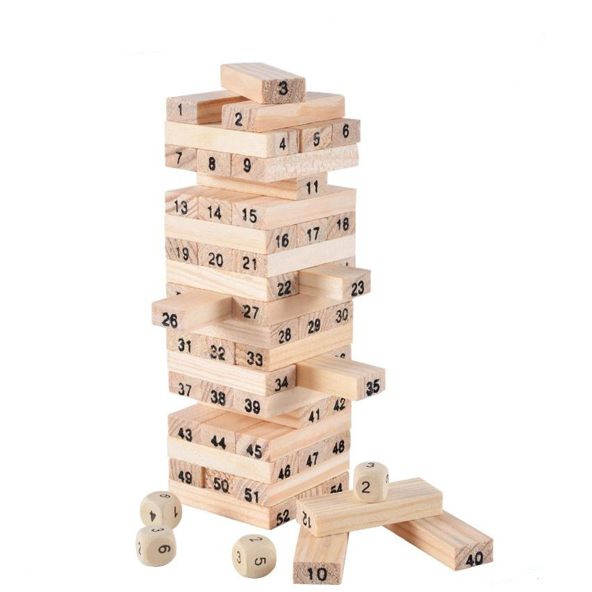 54PCS/set Wooden Jenga Children's Educational Toys Baby Wooden Block Best Gift for Children Building Blocks Family/Party Game 50pcs hot sale wooden intelligence stick education wooden toys building blocks montessori mathematical gift baby toys
