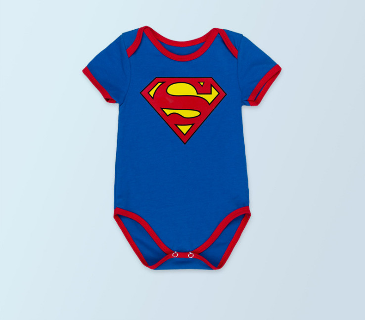 2016 Cute Summer Newborn Clothes Baby Boys Superman Batman Rompers Cotton Short Sleeve Cartoon Princess bebe Girls Jumpsuit
