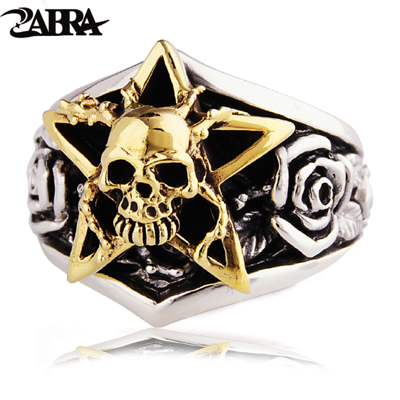 ZABRA Solide 925 Sterling Argent Or Couleur Crâne Hommes Anneau 3D Rose Mens Anneaux Punk Vintage Biker Gothique Bijoux Bagues Homme