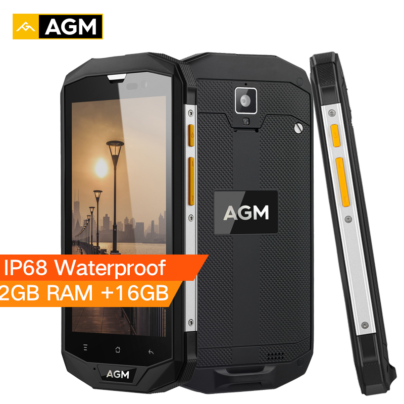 """AGM A8 SE IP68 Waterproof Mobile Phone 5.0""""HD Touch Android 7.1 2GB RAM 16GB ROM Quad Core 8MP 4050mAh 4G LTE Smartphone Celular"""