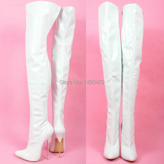 99e3588bb8b 2015 new show boots 16cm Extreme high heels women pointed toe WHITE PU  leather Thigh high sex fetish boots with sky metal heel-in Over-the-Knee  Boots ...