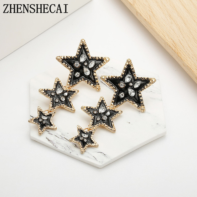 Fashionable earring black color star design crystal shiny drop earring for women personality wedding party jewelry wholesale