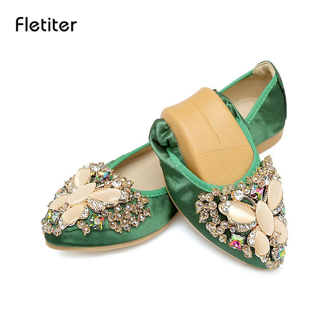 Fletiter 2018 Women Crystal Flats Shoes Fashion Casual Shoes for Women  Pointed Toe Soft Pregnant woman Rhinestone Ballet Shoes cfbc37f178ee