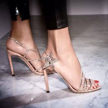 Bling Stars Design Gladiator Sandals Women Cut-outs Summer Party Shoes Woman Pumps Crystal Sandalias Mujer 2019 Brand High Heels(China)