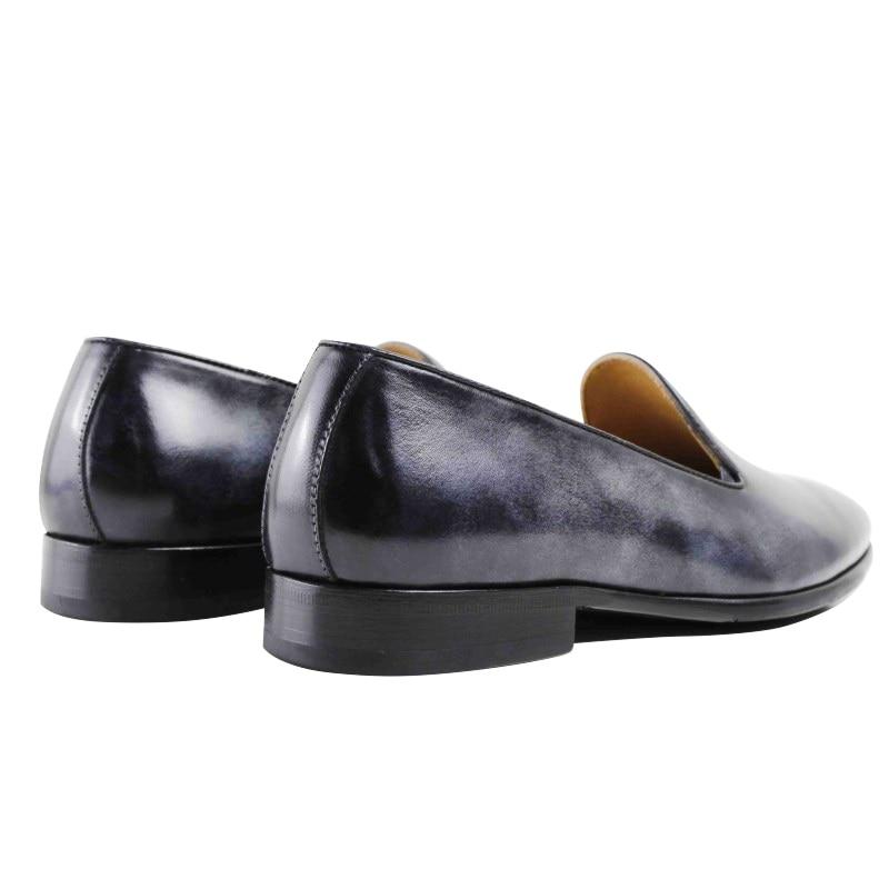 Couro Casuais Masculino Gray Genuíno Sapatos Loafer Vestido Luxo Homens Moda 2019 Hot De Festa Casamento Designer Handmade Flat Dos Vikeduo tPRqwZ7