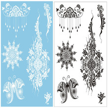 2Pc Flash Waterproof Tattoo Women White Black Henna Lace Tattoos Butterfly Bracelet Chain Bridal Henna Temporary Tatoo Sticker