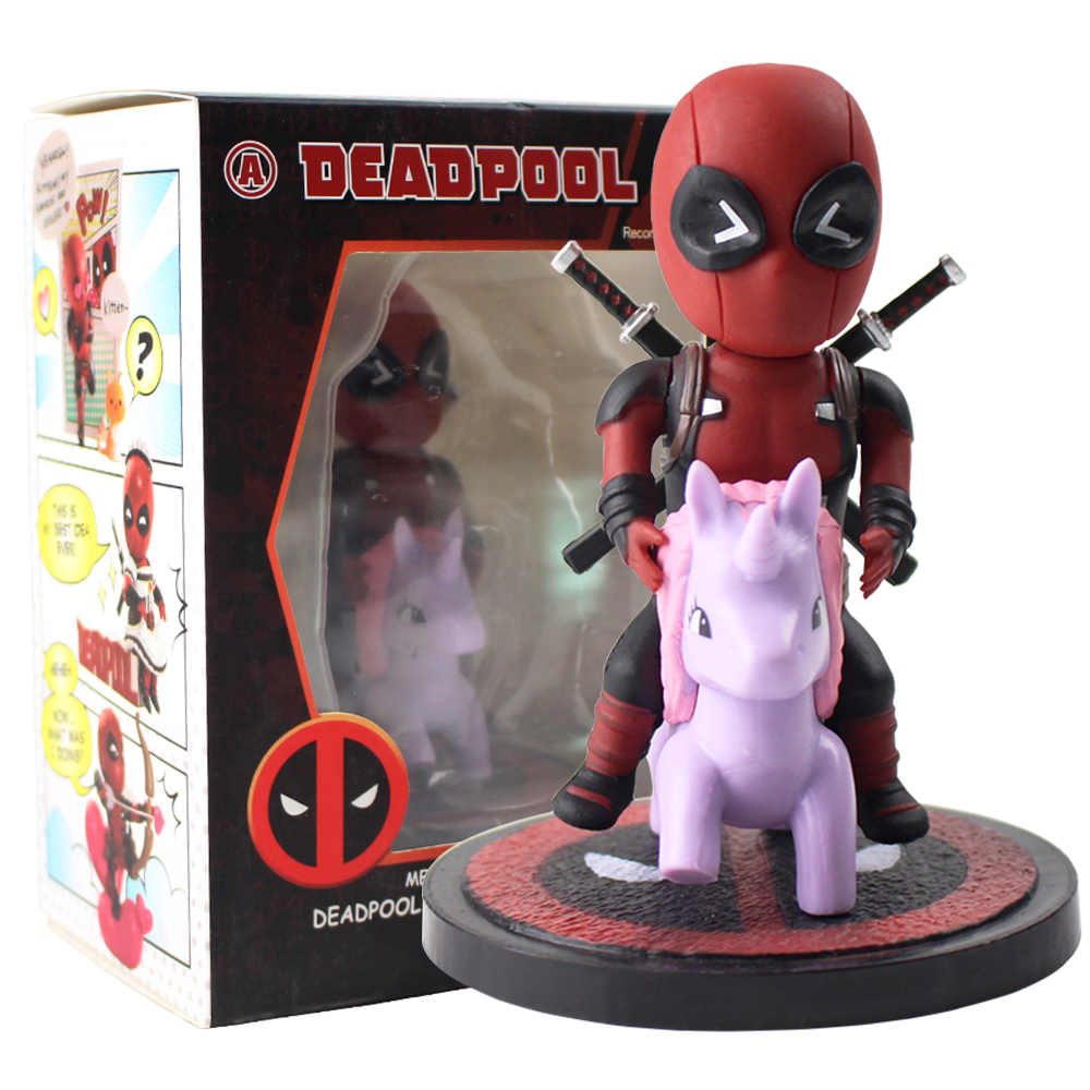 10cm New Arrival Deadpool Riding Unicorn Figurine Cute Mini Q Version Deadpool Decoration Doll PVC Model Collectible Figure Toys