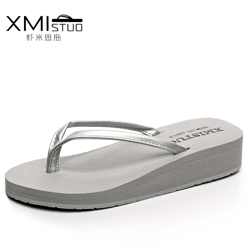 XMISTUO Brand Women Fashion Casual Flip Flops Wedges Platform Slippers Beach Thick Heel Logo Sandals Slides Summer Shoes women sandals 2017 summer shoes woman flips flops wedges fashion gladiator fringe platform female slides ladies casual shoes