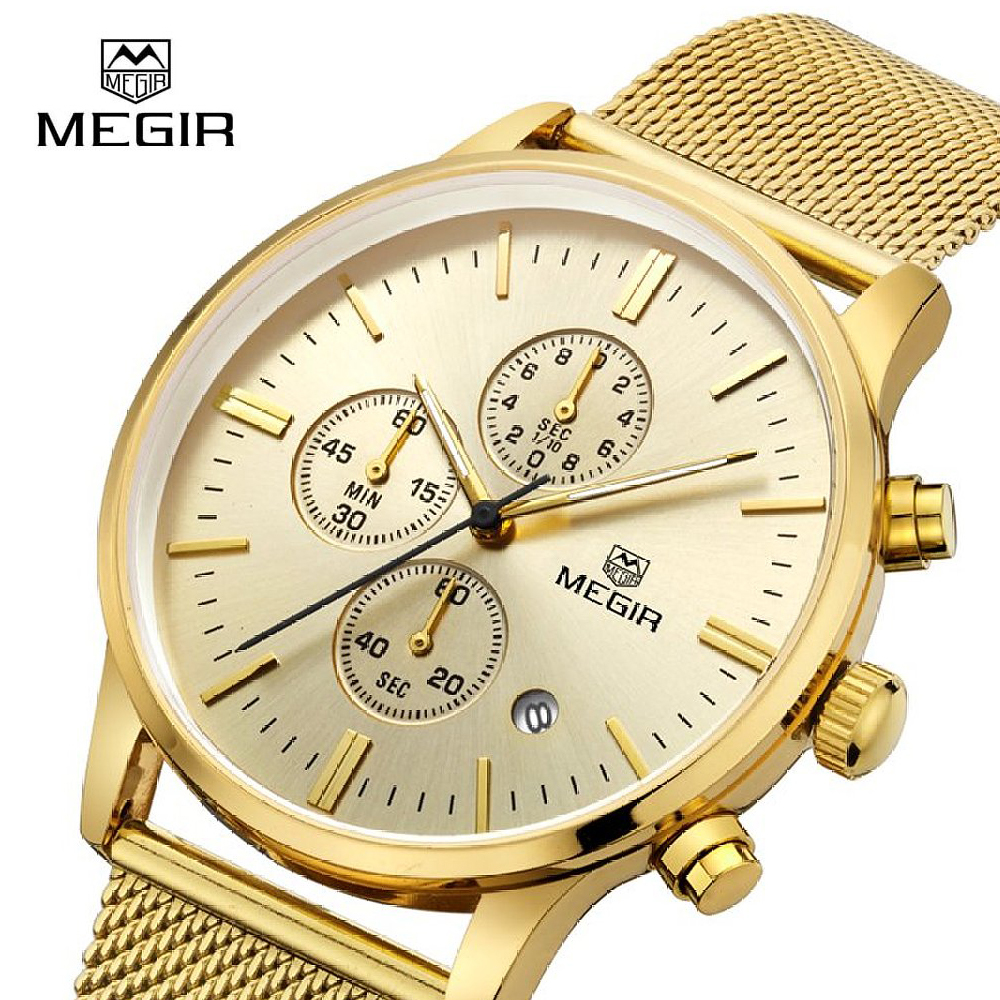 купить Fashion Men watch Luxury Brand Megir Quartz Watches For Men Full Steel Genuine Leather Canvas Strap Sport Casual Wristwatch 2011 по цене 1427.95 рублей