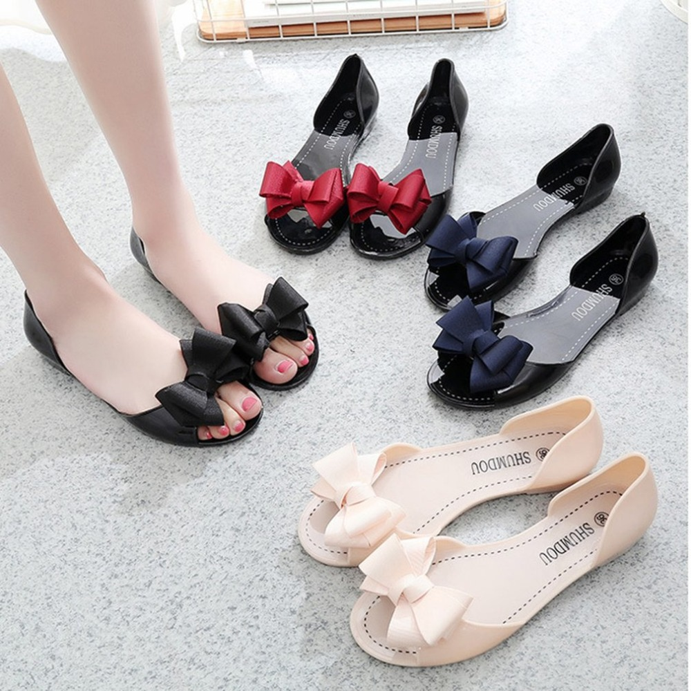Fashion Summer Flat Shoes All-match Style Open Toe Bowknot Jelly Sandals Women Girls Student Casual Slip-on Slippers Shoes black flat casual designer sandals women luxury 2017 summer slip on embellished pearl soft slippers slides shoes open toe metal