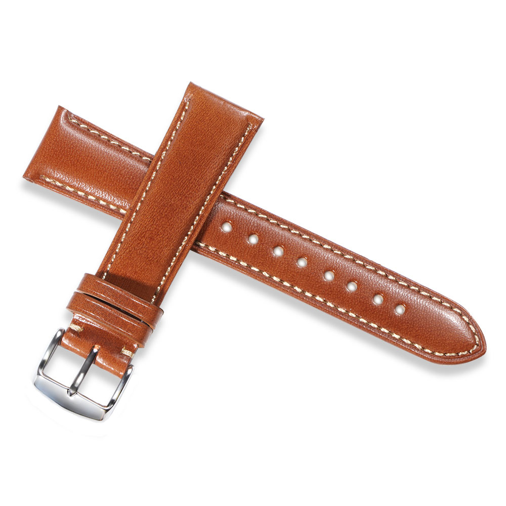 iStrap Watch Strap Genuine Leather 21mm Watch Band Dark brown Replacement Watchband Polished Silver Pin Bukcle For Men Women istrap 22mm handmade genuine calf leather padded replacement watch band for men black 22