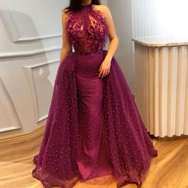 Fée longue Robe De soirée Dubai Vestidos De Festa une ligne Tulle robes De soirée épaule dénudée robes De soirée Robe De soirée fleur