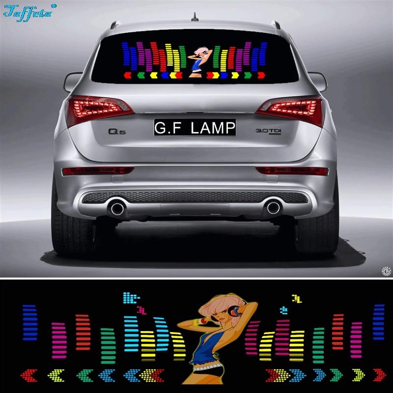 90*25cm Dances Girl Flash Car Sticker Music Rhythm LED EL Sheet Light Lamp Sound Music Activated Equalizer