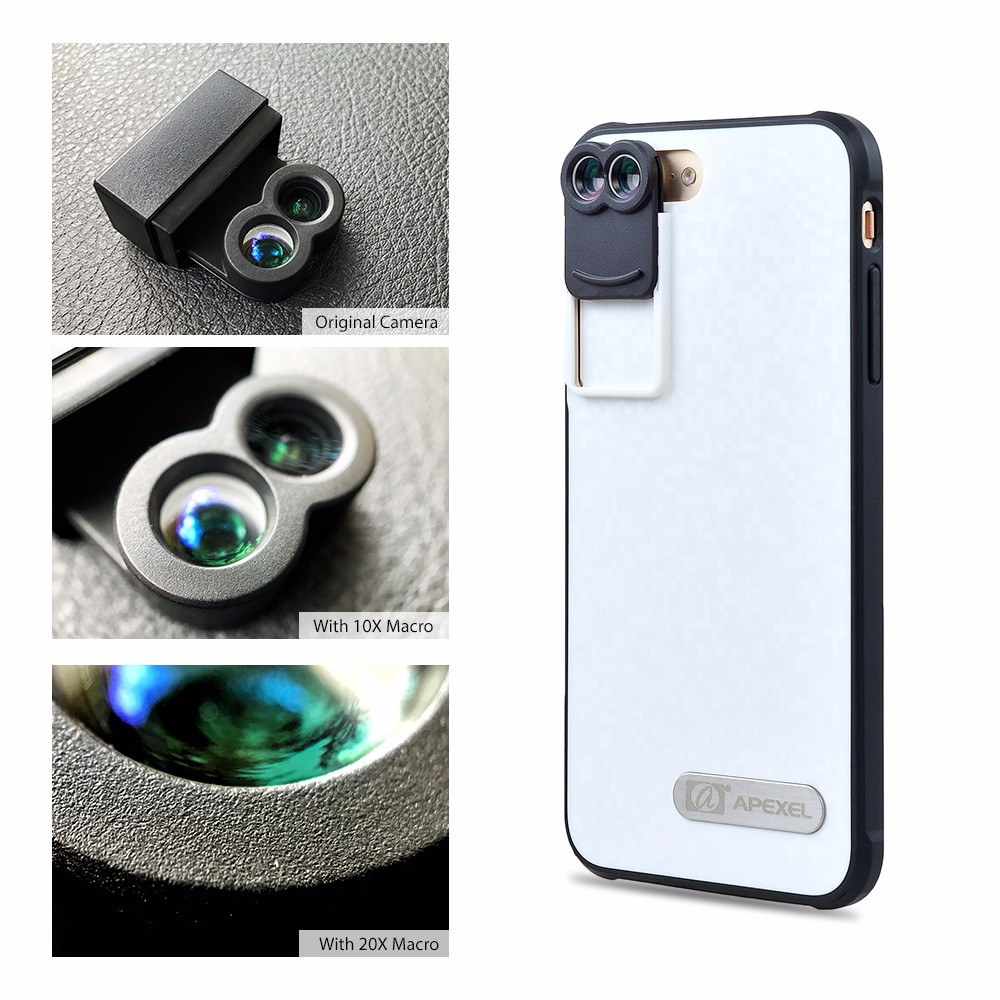 APEXEL Dual Lens fisheye wide angle macro telescope camera lens kit with back case For iPhone 7 plus 11