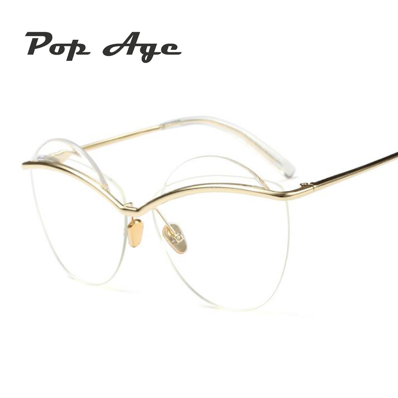 71e828ade8e Pop Age 2018 New Fashion Round glasses Women Men Transparent glasses Circle  Vintage Metal Eyeglasses Frame Luxury Lentes-in Sunglasses from Women s  Clothing ...